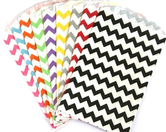 CLEARANCE SALE - 25 Chevron Treat Bags (Party or Wedding Favor Bags, Scrapbooking, Gift Wrap, Envelopes) - 5 x 7.5 inches