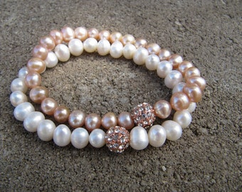 Rose Gold Pave Bead Stretch Bracelet with Freshwater Pearls