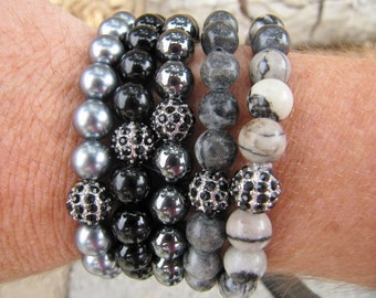 Black Silver Pave Bead Stretch Bracelet - Multi Colors of Grey, Black and Silver