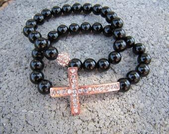 Black Onyx Rose Gold Pave Crystal Sideways Cross Bracelets - Set of 2