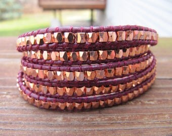 Rose Gold Maroon Nugget Beaded Leather Wrap Bracelet - ON SALE
