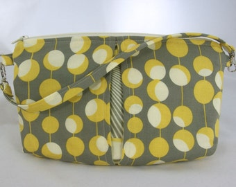 Clutch Wristlet Small Purse Yellow and Grey Amy Butler Fabric
