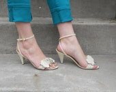 Vintage Womens Size 5 Ivory Heels, Womens Shoes