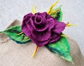 Reserved - Felted brooch , flower, brooch, glass beads, felt, nuno felt, silk, purple, green, yellow