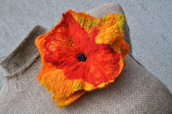 Felted brooch , flower, brooch, glass beads, felt, nuno felt, yellow, red
