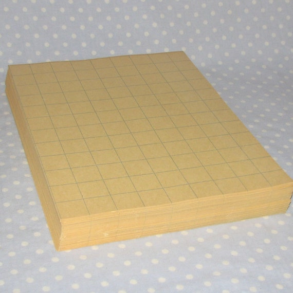 10 sheets Vintage Graph Paper 1 inch squares 9x12 Construction Paper manilla color with blue lines
