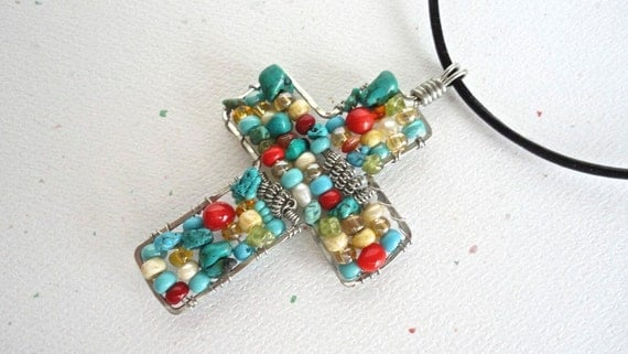 Beaded Cross Necklace Turquoise Coral Glass Beads Silver Coils