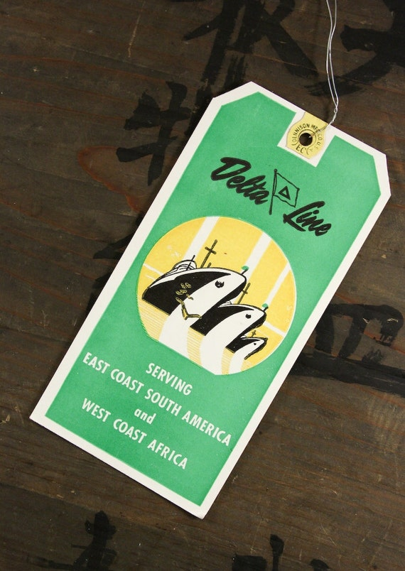 "1950's Vintage Travel Luggage Baggage Suitcase Tag ""Delta Line"", Paper Ephemera, Collectibles"