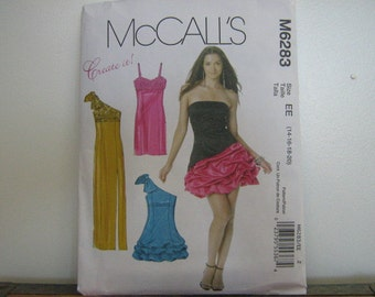 Party or Bridesmaid's Dress Pattern, Create It Mix and Match Pattern Pieces, Mc Call's 6283, SZ 14 through 20