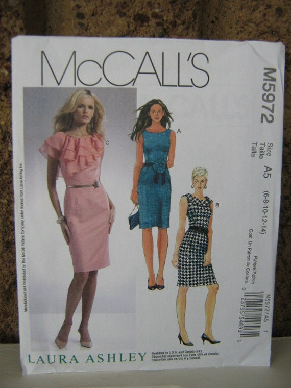 Classic Fitted  Dress Pattern with Neck Variations, Laura Ashley for McCalls 5972, Women's SZ 6 through 14, Uncut