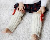 Baby girl leggings, hand knit leg warmers for babies