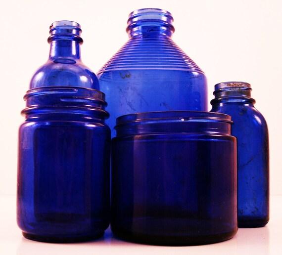 Lot Of Vintage Cobalt Blue Glass Bottles And Jars Instant