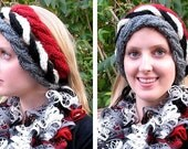 Hand Knit Headband Holey Twists in Red White Black Grey