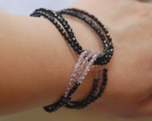 Black and Amethyst Glass Bead Bracelet--CFEST, Holiday Look