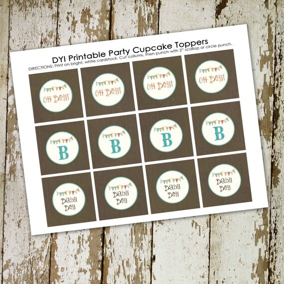 Baby Boy B is for boy matching cupcake toppers 122, digital, DIY printable file