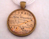 New Braunfels Texas Vintage Map Pendant with Necklace - OOAK - Necklace Options - Free Shipping