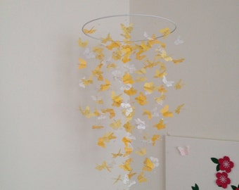 Hello Sunshine - yellow and white monarch butterfly chandelier mobile, baby mobile, baby mobile, photo prop, nursery mobile