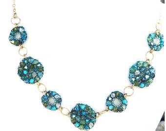 Crystal Necklace in Blue & Green - Swarovski Crochet Links 14K Gold Fill