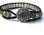 Grey Boho Leather Wrap Bracelet in gray Czech glass beads with Filigree Button/ Soft Winter Neutral/ Urban Modern Boho Chic