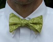 Men's Self tying Bow Tie in Green French Lace