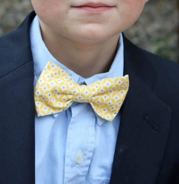 Yellow and Gray Circles and Dots Bow Tie - Clip on, pre-tied with adjustable strap, or self tying for men or boys