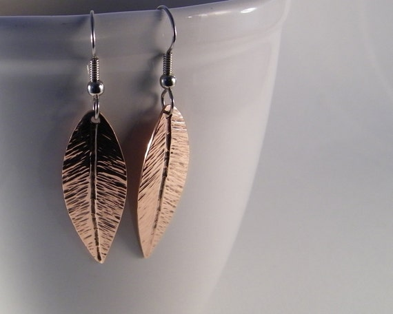 Copper Earrings - Handcut and Hammered Copper Earrings - Copper Leaf Earrings - Copper Leaves - Ready to Ship