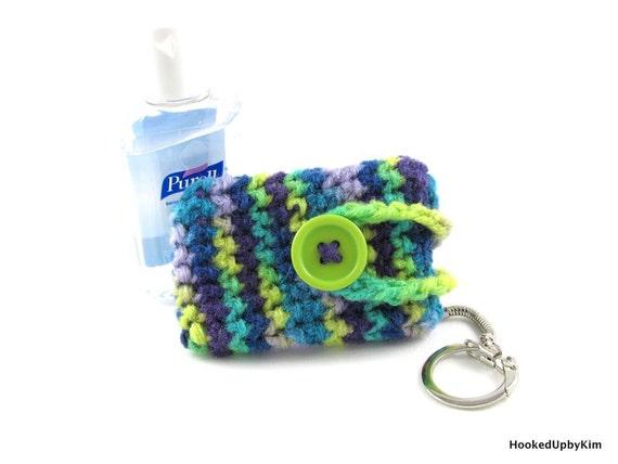Crochet Hand Sanitizer Cozy - Peacock Tones