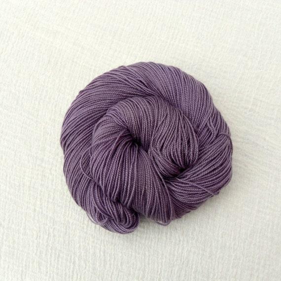 Purple Sock Yarn Merino Cashmere Nylon Hand Dyed 100g - MCN High Twist - Aubergine 1