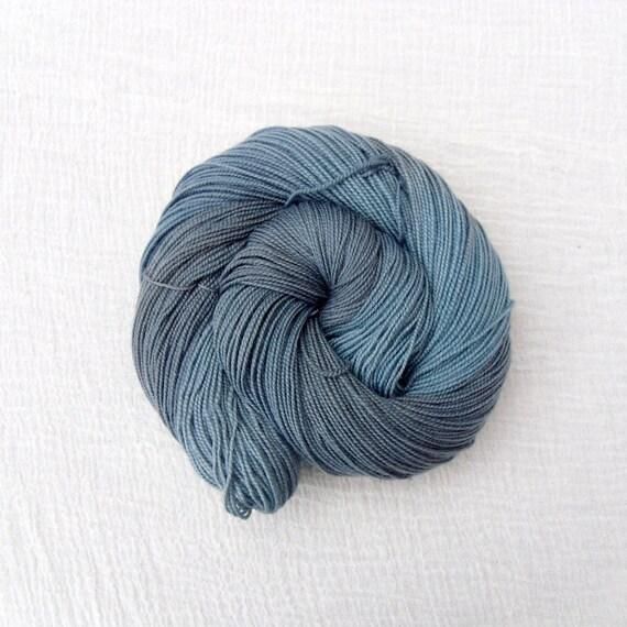 Blue Hand Dyed Sock Yarn 100g - Merino Cashmere Nylon MCN High Twist - Blue Mountain 1