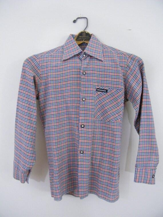 Vintage Boys Plaid Shirt / Bonanza / Collared Shirt