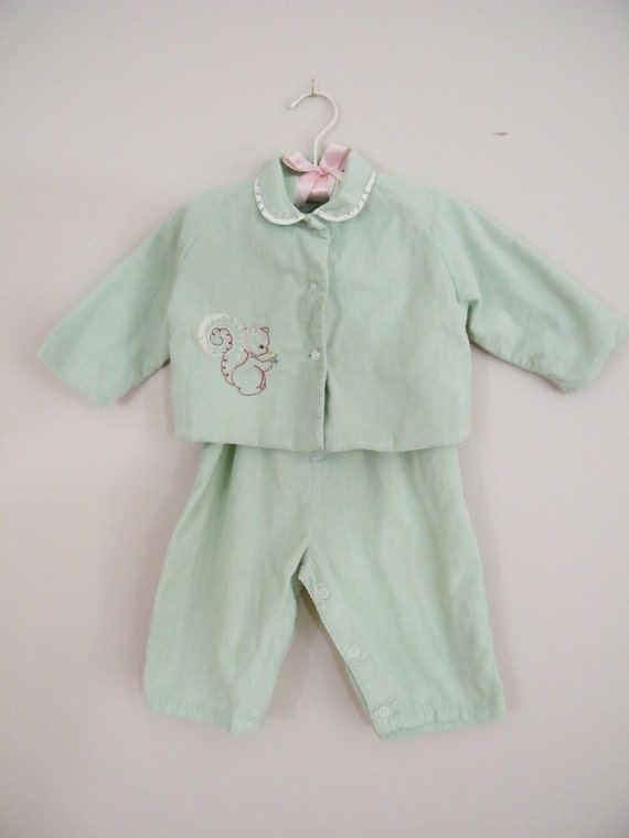 Vintage 3 Piece Baby Outfit / Overalls, Jacket and Bonnet
