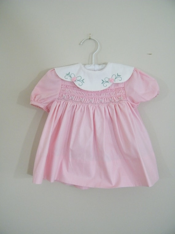 Vintage 1980s Pink Baby Dress with Matching Bloomers / Polly Flinders / Size 12 Months