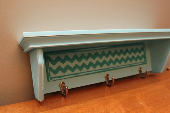 Aqua Wall Shelf with hooks, Hand Painted Chevron, Upcycled Distressed