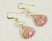 Earrings Rhodochrosite  Natural stone 14K gold Filled / Freshwater pearl  and Rhodochrosite /Dangle/ Chandelier