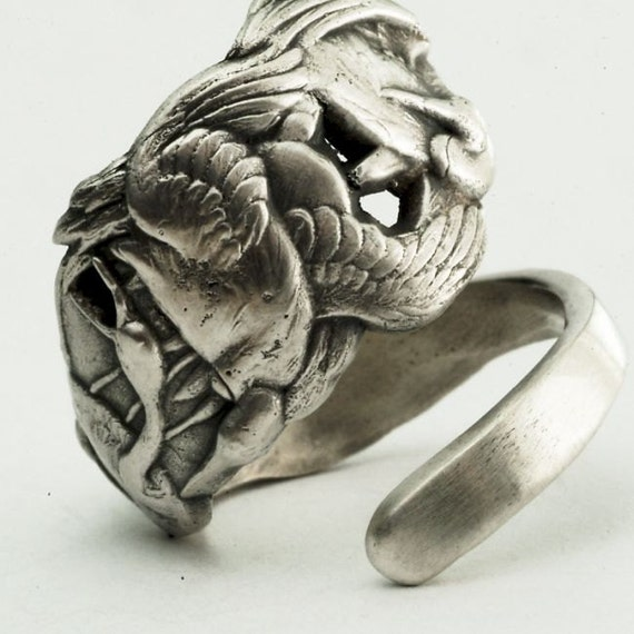 Spoon Ring Unique Vintage Crane Birds in Sterling Silver, Handcrafted in Your Size (2399)