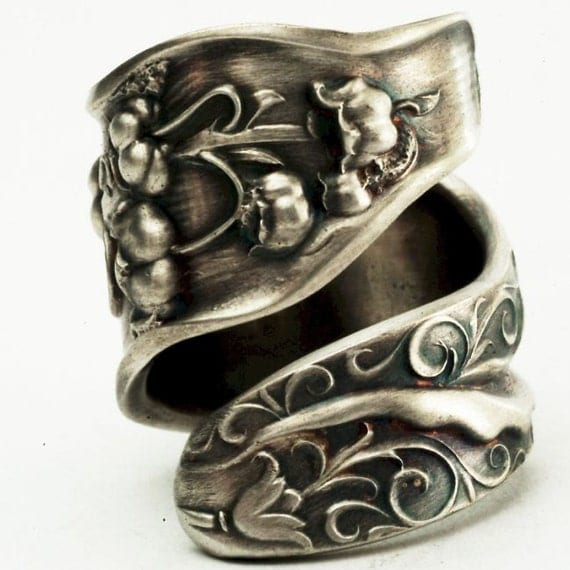 Spoon Ring Unique Lily of the Valley Art Nouveau Sterling Silver, Handcrafted in Your Size (2534)