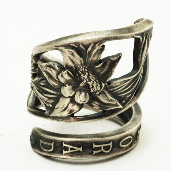 Spoon Ring Colorado Columbine Flower Sterling Silver Ring, Made in YOUR Size (2760)
