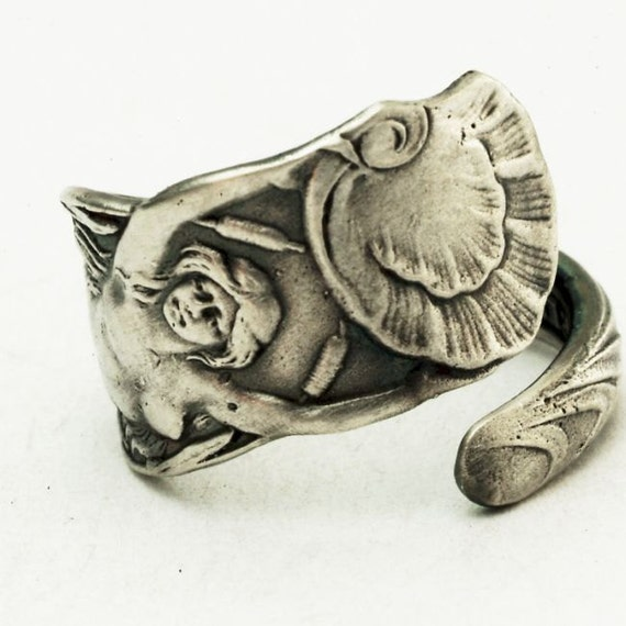 Sterling Silver Spoon Ring Mermaid of the Sea, Handcrafted in your size (2785)