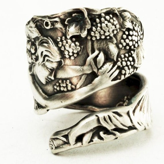 Spoon Ring Grape Picker Goddess Sterling Silver by Fessenden, Handmade in Your Size (2788)