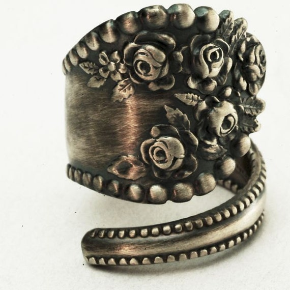 Spoon Ring Vintage Victorian Rose Sterling Silver Ring, Handmade in Your Size (2878)