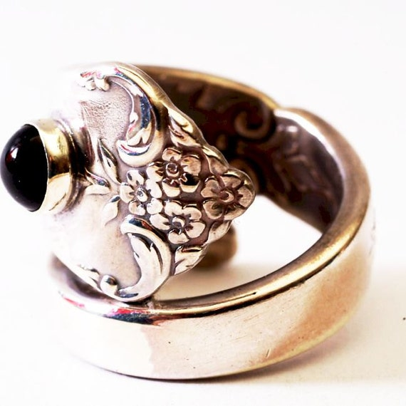 Vintage Buttercup Floral Sterling Silver Spoon Ring, Black Onyx Gemstone, Handmade in Your Size (2954)