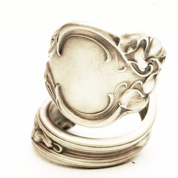 spoon ring unique violet pattern sterling silver pattern by