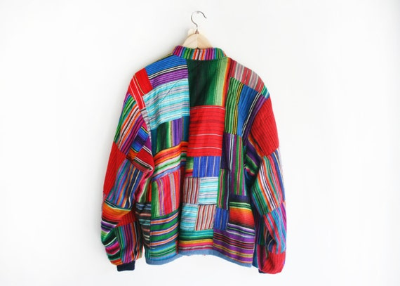 50% OFF SALE Vintage Multi-Colored Patchwork 90&39s Zip by anystore