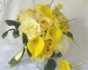 Yellow rose wedding calla lily wedding bouquet real touch calla lilies shades of yellow wedding flowers bridal bouquet set
