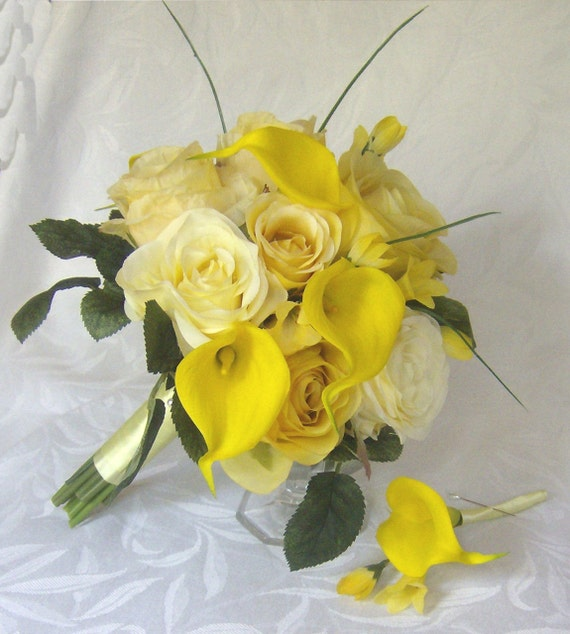 Black And Yellow Wedding Flowers: Yellow Rose Wedding Calla Lily Wedding Bouquet Real Touch