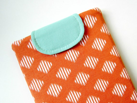 SALE - Kindle Cover or Small Tablet Case - Orange Ikat and Aqua with Dense Foam Padding