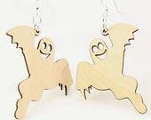 Ghosts - Halloween - Laser Cut Wood Earrings