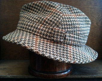 Vintage Old Bond Street Houndstooth Hat / English Shop