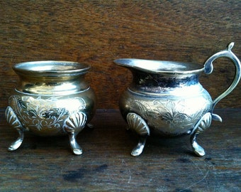 Antique English silver plated EPNS sugar bowl pot and creamer jug circa 1900's / English Shop