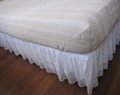 Fitted sheet for queen size bed-bed linen cotton -stripe ecru color Turkish traditional Odemis fabric Bedding set